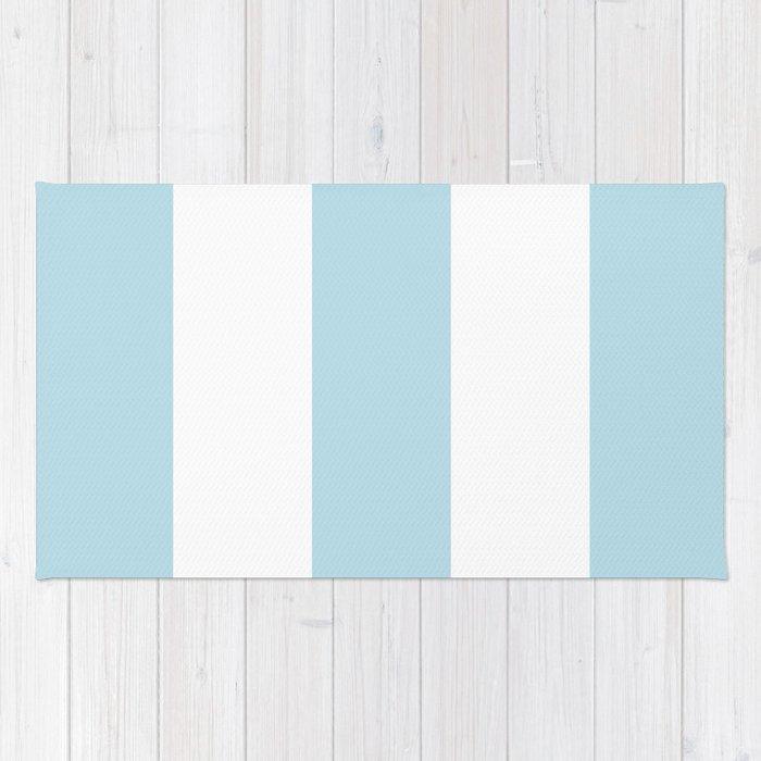 Aqua Blue And White Stripe Rug