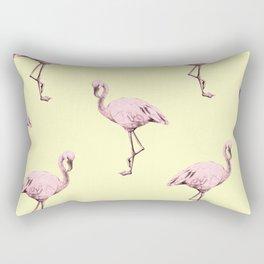 Flamingos in Flamingo Pink on Pale Yellow Rectangular Pillow