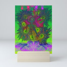 Rooster Scratch (abstract, psychedelic) Mini Art Print