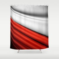 poland Shower Curtains featuring flag of Poland by Lulla