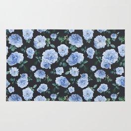 Blue Roses Flower pattern Rug