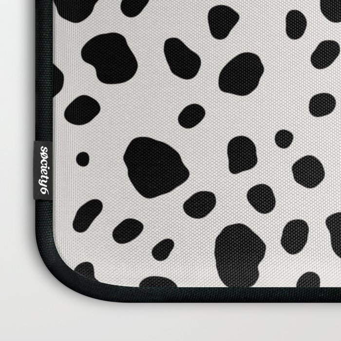 Polka Dots Dalmatian Spots Black And White Laptop Sleeve