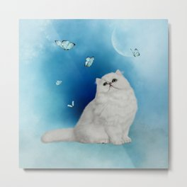 Cute chinchilla cat with butterflies Metal Print