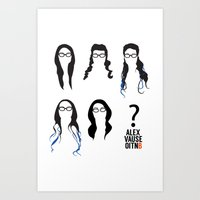 alex vause Art Prints featuring Alex Vause Hairstyles by Zharaoh