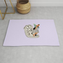 running out of time lavender Rug