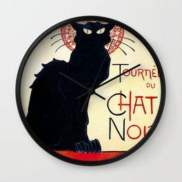 Vintage french poster - Tournée du chat noir - Steinlen Wall Clock