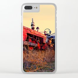 old tractor red machine vintage Clear iPhone Case