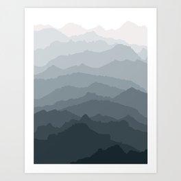 Silver Dew Mountains Art Print