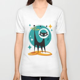 Atomic Space Cat Mid Century Modern Art Scooter Unisex V-Neck