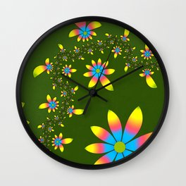 Green Floral Dance Wall Clock