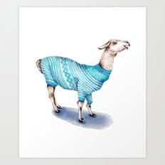 Llama in a Blue Sweater Art Print