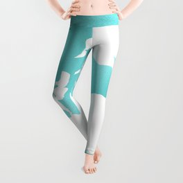 Turquoise Map of the World Leggings