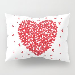 Heart - summer card design, red butterfly on white background Pillow Sham
