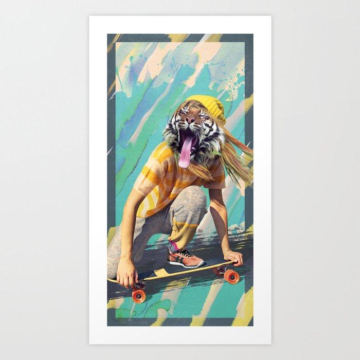 Skate Tiger Pepe Psyche Art Print
