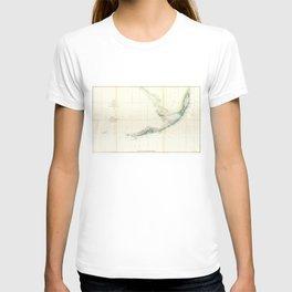 Vintage Map of The Florida Keys (1859) T-shirt