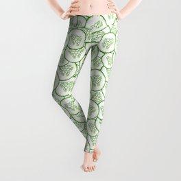 Cucumber slices pattern design Leggings