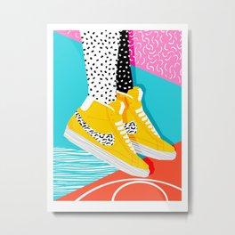 Kid You Not - memphis retro shoes fashion throwback 80s style trends minimalist art neon Metal Print