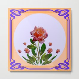 PEACHY PINK ROSE ART NOUVEAU ART Metal Print