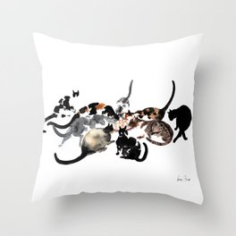 Cats eating together Throw Pillow