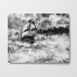 Ship in the Storm Watercolor (Black and White) Metal Print