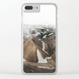 Iceland Snow and Mountains Clear iPhone Case