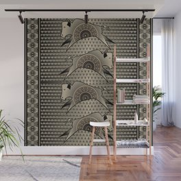 Buffalo Running (Gray) Wall Mural