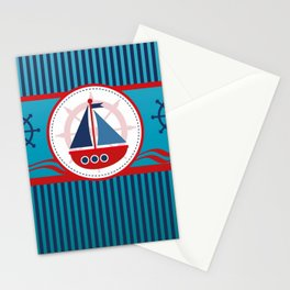 Cool Blue Sailboat Background Stationery Cards