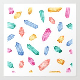 Crystals pattern - White2 Art Print
