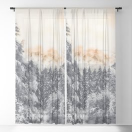 Winter forest trees #38 Sheer Curtain
