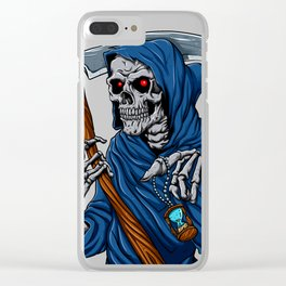Reaper grim with Hourglass - ghost skull - black and white Clear iPhone Case