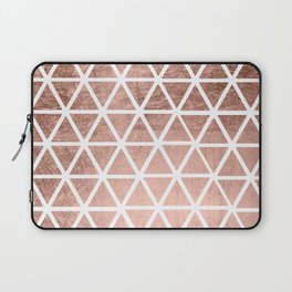 Geometric faux rose gold foil triangles pattern Laptop Sleeve