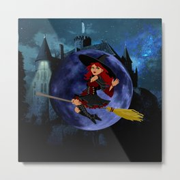 Witch and Blue Moon Metal Print