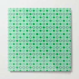 Green and Blue Dots Pattern on Soft Green 2 Metal Print