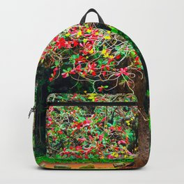 big tree with green yellow and red leaves Backpack