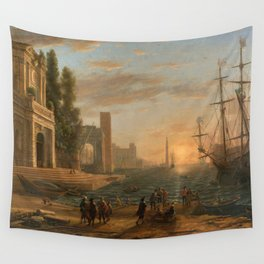 A Seaport by Claude Wall Tapestry