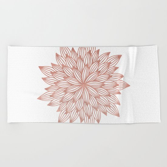 Mandala Flowery Rose Gold on White Beach Towel