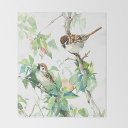 Sparrows And Apple Blossom Throw Blanket