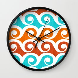 Abstract Waves ~ Retro Summer Pattern Wall Clock