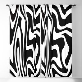 Zebra Print // Mid Century Modern Liquid Abstract // Black and White Blackout Curtain