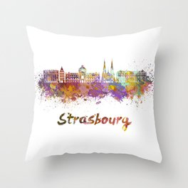 Strasbourg skyline in watercolor Throw Pillow