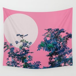 Pink sky and rowan tree Wall Tapestry