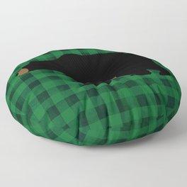 Black Bear - Green Plaid Floor Pillow
