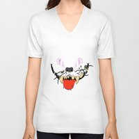 cheshire cat V-neck T-shirts featuring Cheshire by Jorge Daszkal