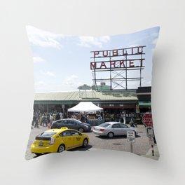 Seattle Public Market Throw Pillow