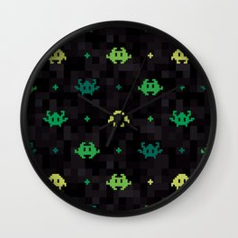 Pixel Space Monsters (Green) Wall Clock