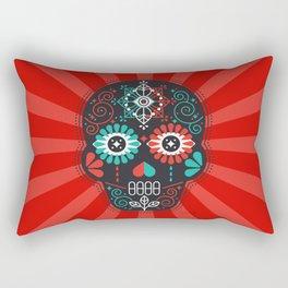 Día de Muertos Calavera • Mexican Sugar Skull – Black & Turquoise on Red Starburst Rectangular Pillow