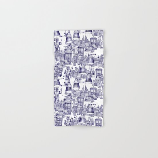 Doctor Who Toile de Jouy | 'Walking Doodle' | Blue Hand & Bath Towel