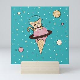 Space Cat on Ice Cream Planet Mini Art Print