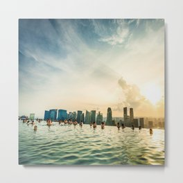 infinity pool on marina bay sands in singapore Metal Print