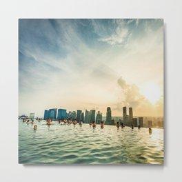 infinity pool on marina bay sands in singapore Metal Print
